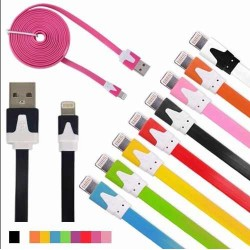 Cable Plano 3Mts  cargador y datos Iphone 5/5s/5c/6/6s/ Ipad Air